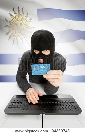 Cybercrime Concept With National Flag On Background - Uruguay