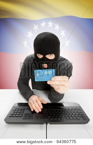 Cyber crime Concept With National Flag On Background - Venezuela