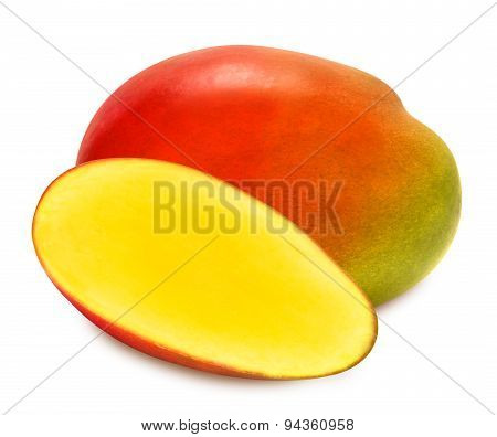 Juicy ripe mango slices isolated
