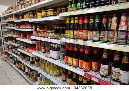 Various Of Oyster Sauce Sold On The Market