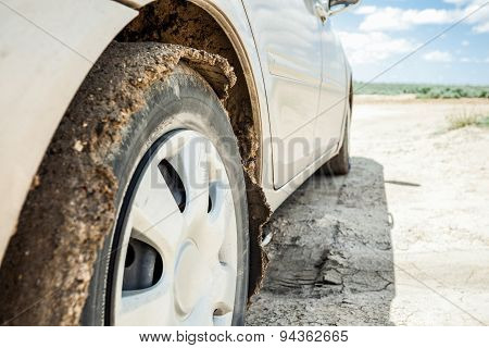 Elegant Car On A Dirt Road