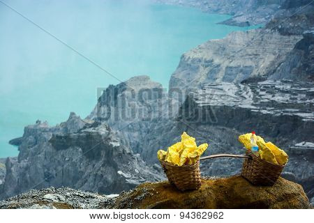 Baskets With Sulphur At Kawah Ijen, Indonesia