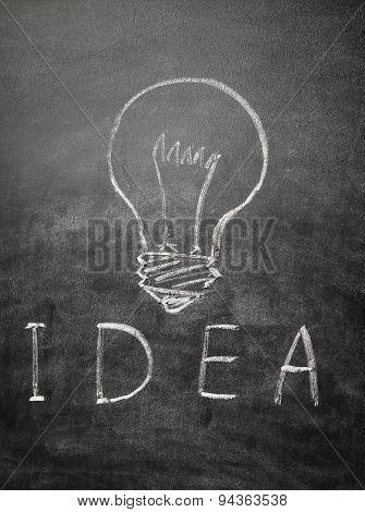 Light Bulb And Text Idea On A Black Chalkboard