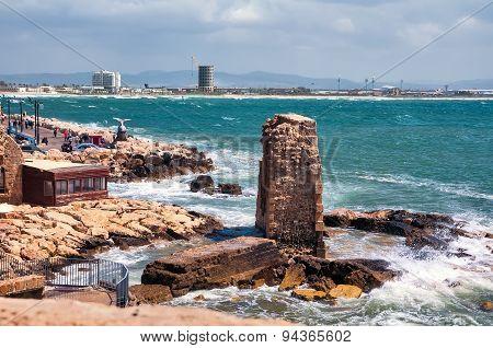 Israel, The Mediterranean Sea, Haifa Bay, The Promenade In Acre.