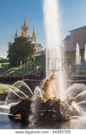 Samson Fountain At Peterhof Complex