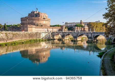 Rome, The Castle And The Bridge Angel.