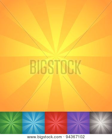 Radiating Lines Sun, Star Burst Backgrounds. Set Of 6 Colors, Yellow-orange, Green, Blue, Red, Purpl