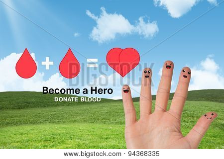 Blood donation against blue sky over green field