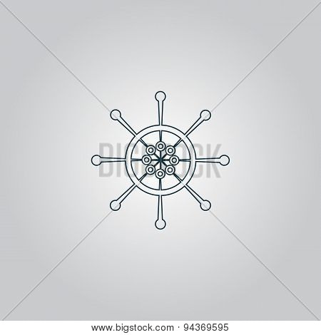 Yacht wheel symbol. Helm silhouette.