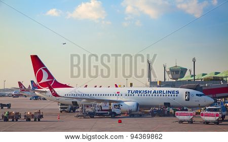 ISTANBUL - May 4:  Planes preparing for take off at Terminal 2 of Ataturk Airport on May 4, 2015 in Istanbul, Turkey. Istanbul airport is home port for Turkish Airlines and one of the biggest hubs.