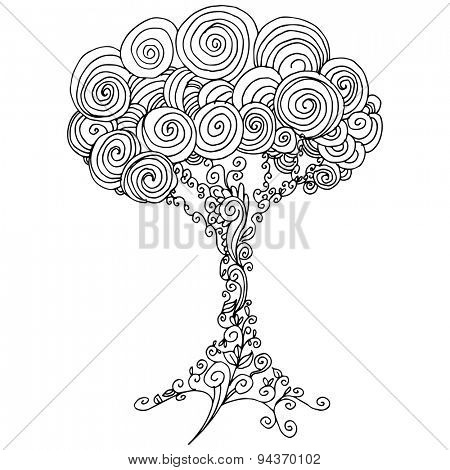 An image of a tree - zentangle style.