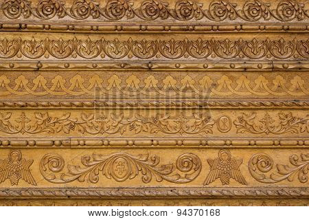 Close Up Ornamental Wood  Carvings On The Wall Of Monasteries In Bucovina