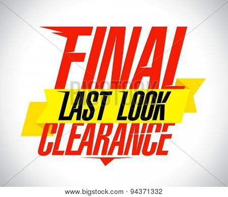 Final clearance text design with yellow ribbon.