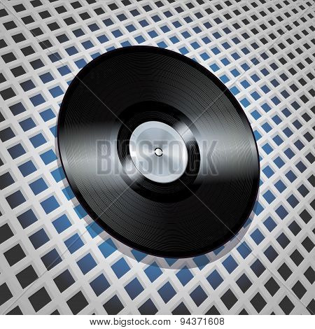 Vinyl Record With Metallic Centre On Lattice Pattern Background