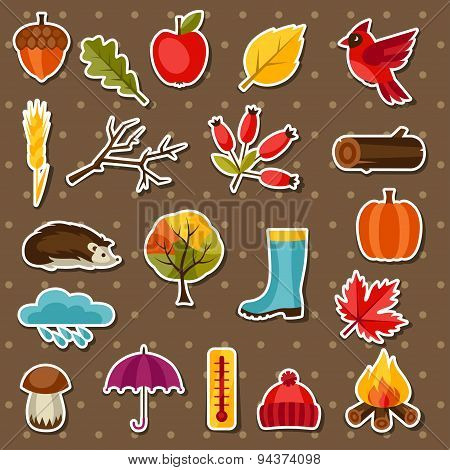 Autumn sticker icon and objects set for design