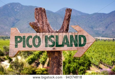 Pico Island wooden sign with winery background