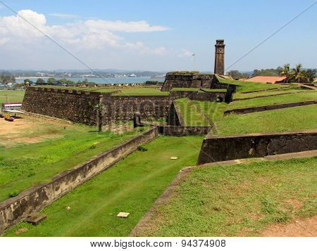 Walls ad clock tower of colnial Fort Galle, Sri-Lanka