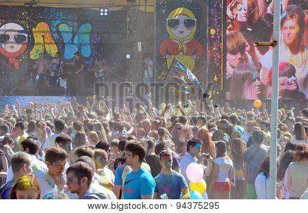 ST. PETERSBURG, RUSSIA - JUNE 13, 2015: Festival of colors at stadium Kirovets in Saint Petersburg 1