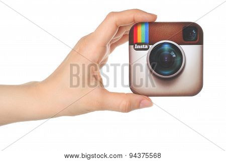 KIEV UKRAINE - APRIL 30 2015: Hand holds Instagram logo