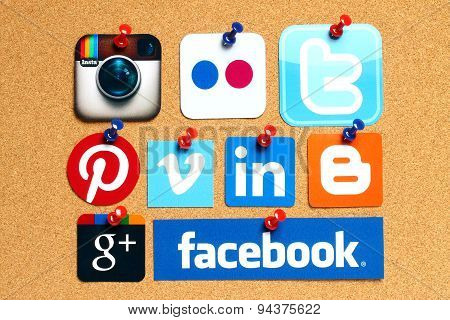 KIEV UKRAINE - APRIL 15 2015: Collection of popular social media logos