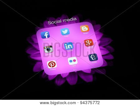KIEV UKRAINE - APRIL 30 2015:Collection of popular social media logos on iPad screen