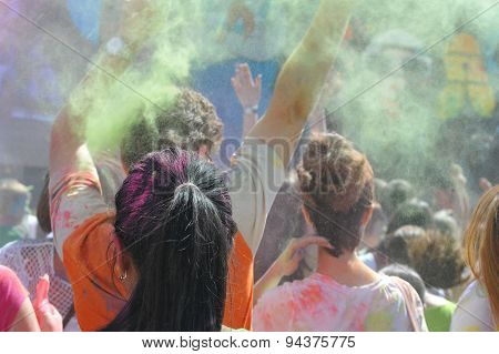 Holi. Festival of colors at stadium Kirovets in St. Petersburg, Russia 12-14 June, 2015. Young peopl