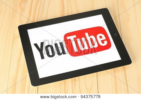 KIEV UKRAINE - APRIL 30 2015: YouTube logotype on iPad screen