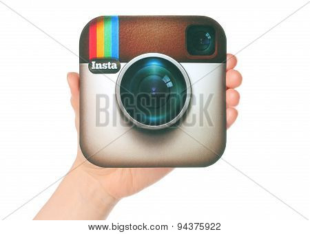 KIEV UKRAINE - APRIL 29 2015:Hand holds Instagram logotype