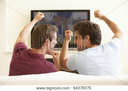 Two Men Watching Widescreen TV At Home