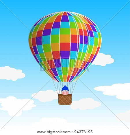 Hot Air Balloon With A Child