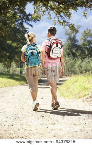 Middle Aged Couple Hiking Through Countryside Viewed From Behind