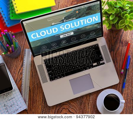 Cloud Solution Concept on Modern Laptop Screen.