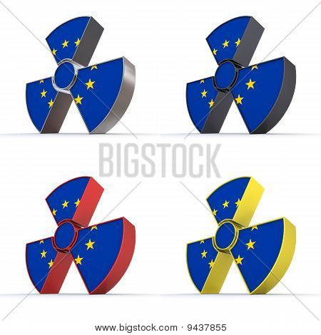 Shiny Nuclear Symbol - European Union Flag Texture