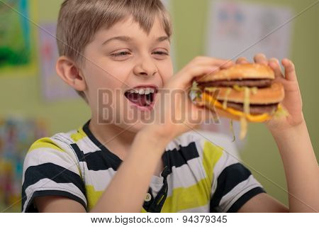 Boy And Greasy Burger