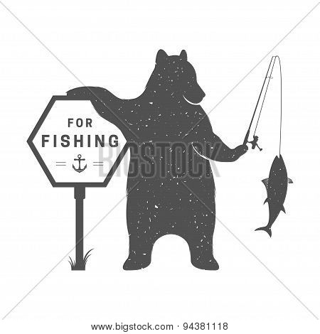Vintage Illustration Of Funny Bear With Sign Fishing