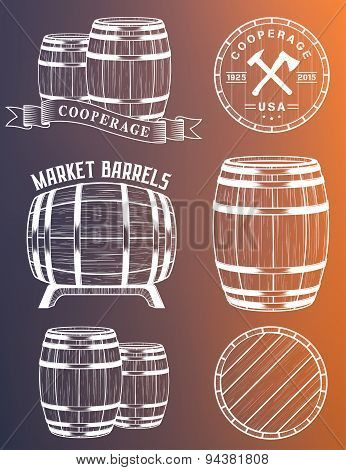 Vector Set Barrels In Vintage Style