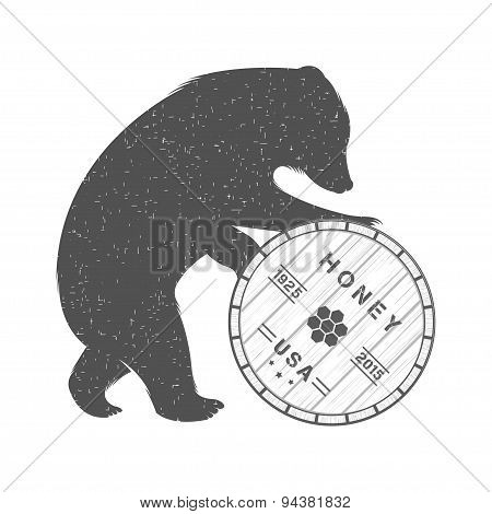 Vintage Illustration Of Bear With Barrel Of Honey