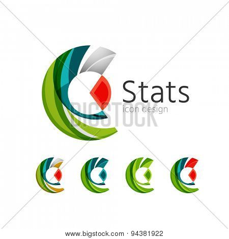Statistics company logos et. Vector illustration. Economy business icon made of overlapping shapes