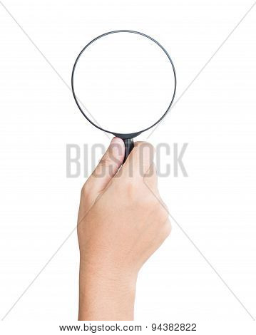 Hand Hold Magnifier Isolated Clipping Path Inside