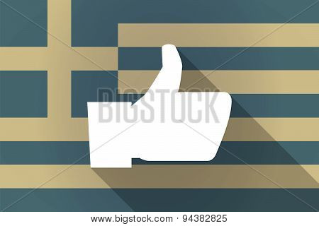 Greece  Long Shadow Flag With A Thumb Up Hand