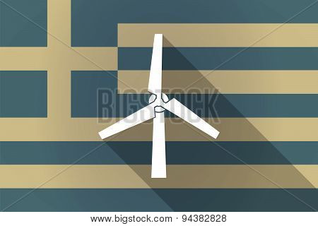 Greece  Long Shadow Flag With A Wind Generator