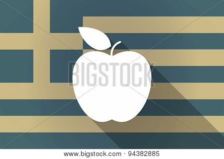 Greece  Long Shadow Flag With An Apple