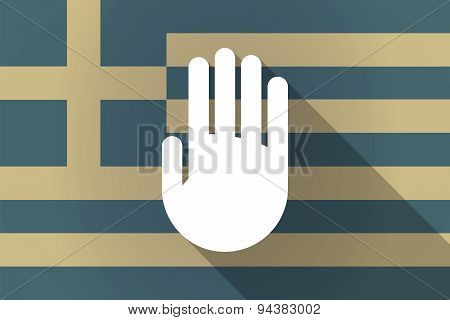 Greece  Long Shadow Flag With A Hand