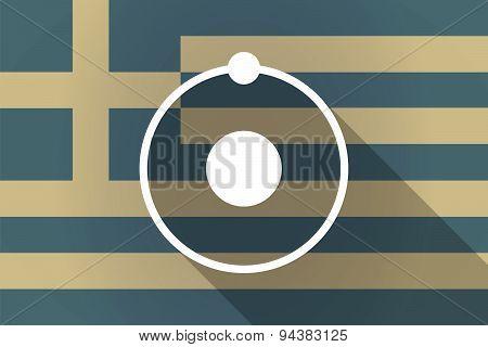 Greece Long Shadow Flag With An Atom