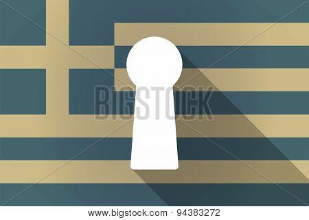 Greece Long Shadow Flag With A Key