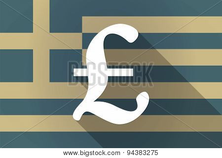 Greece  Long Shadow Flag With A Pound Sign
