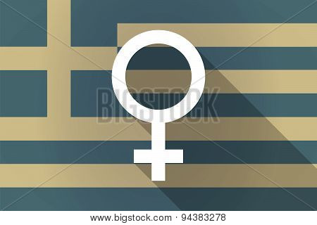 Greece  Long Shadow Flag With A Female Sign