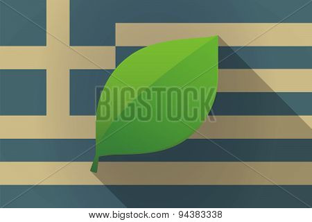 Greece  Long Shadow Flag With A Leaf