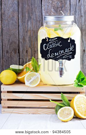 Homemade lemonade in beverage dispencer