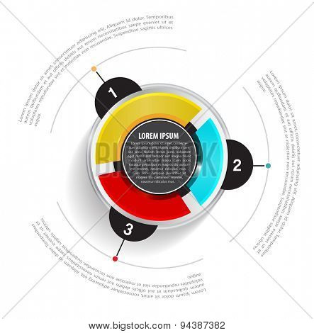 Vector round graph scheme with three colored sections on the white background and with a place for text